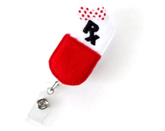 RX Capsule - Retractable Badge Reel - RX Badge Holder - Pharmacy Badge Holder - Pharmacist Badge Clip - Pharmacy Tech Badge - Medical Badge