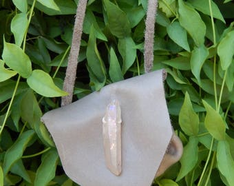 Gray Leather Pouch Necklace Medicine Bag Drawstring Pouch Necklace with Quartz Crystal Embellishment Gray Medicine Pouch