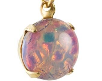 Vintage Harlequin Opal Glass Stones 1 Loop Brass Settings 12mm (4) rnd004DD