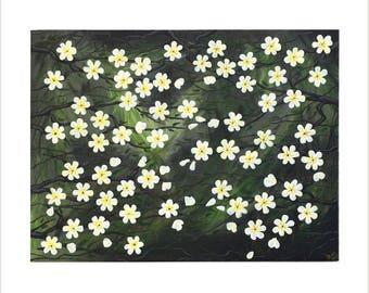 White Blossom Painting, Original Acrylic Painting on Canvas, Japanese Blossom Art, Cherry Blossom Tree Painting, Blossom Design Wall Decor