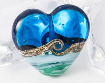 Blue Seascape Heart Lampwork Bead