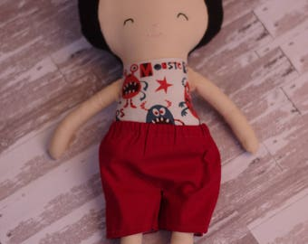 "Boy Doll in Red Shorts, 14"" Fabric"