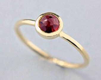 Red Garnet Gold Ring 14k Rose Cut Garnet Engagement Ring Red Rose Cut Garnet Gold Ring Size 7 Yellow Gold Garnet Ring