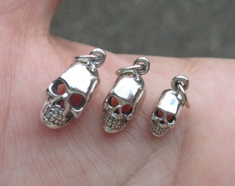 Sterling Silver Skull Head Charm - 3 sizes or Skull Post Earrings - You choose which one