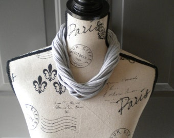 Jersey Scarf Necklace in Light Gray