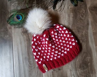 Chunky Little Hearts Hat