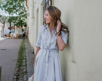Wide skirt linen dress | Dress with classic collar | 3/4 sleeve dress | Linen dress | Maternity Dress | Dress with belt | Dress with button