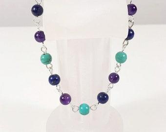 Intuition Bracelet ~ Amethyst, Lapis Lazuli & Turquoise Bracelet