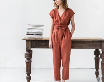 Wrap linen jumpsuit / Washed long linen overall / Linen romper