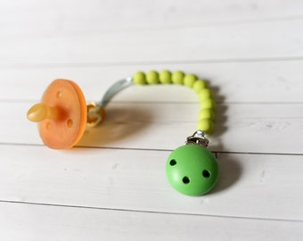 Green Silicone Pacifier Clip - Silicone Bead Pacifier - Silicone Clip - Baby Pacifier Clip - Paci - Baby Teether Clip - Teething Baby - Paci