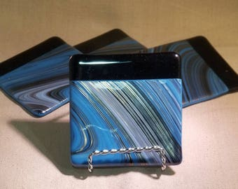 Black and Blue Swirl fused glass coasters (set of 4)