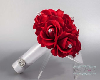 Red Rose Wedding Bridal Bouquet w Czech AB Crystals. Small Bouquet. Bride, Bridesmaid, MOH. Real Touch Flowers. Caroline Rose Collection