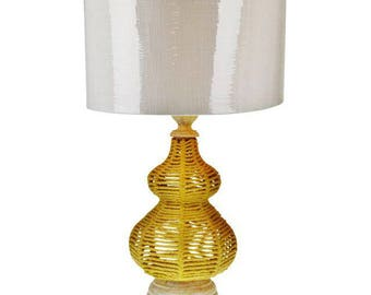 Nautical Design Rustic Chic Table Lamp with Drum Shade