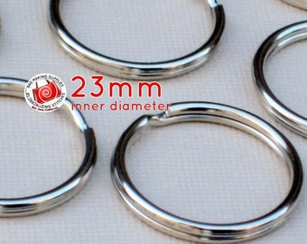 5 pieces 23mm split rings / key rings (CHOOSE YOUR FINISH: available in antique brass and nickel color finish)