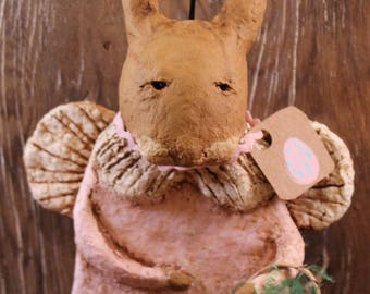 Primitive Easter Bunny Angel, OOAK, handmade paper mache, Primitive Easter