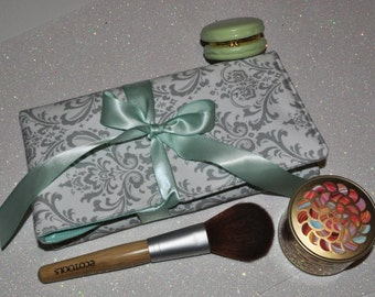 Damask Makeup Brush Roll // Grey and Mint Brush Organizer - Padded Travel Brush Storage - Gift for Her - Made to Order