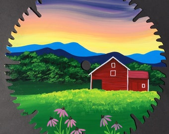 Red Barn and Mountains