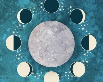 Minimalist Moon Phase & Lunar Cycle Art Print