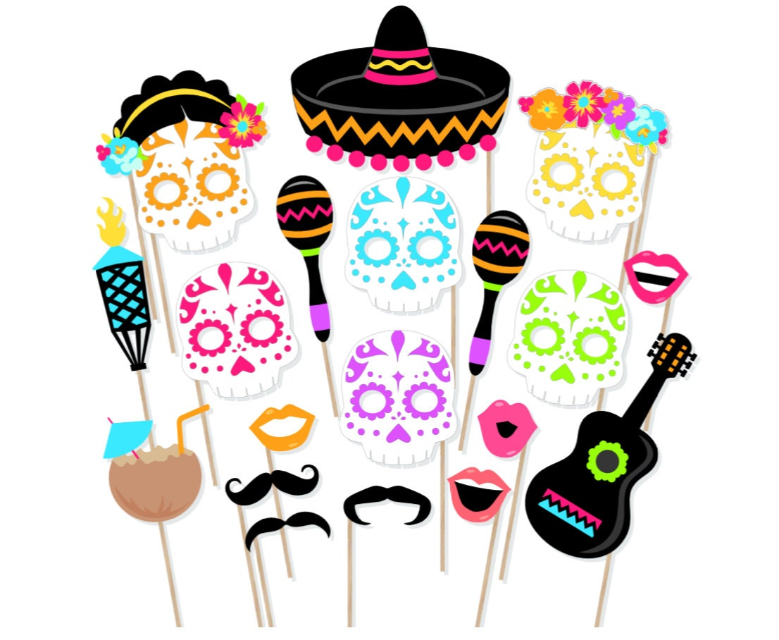 Printable Day of the Dead Photo Booth Props Dia De Los