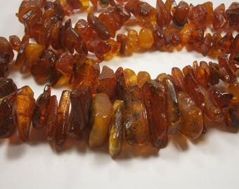 "Genuine Baltic Amber Necklace, Deep Cognac Polished Amber Nuggets, 32"" Long Natural Organic Vintage Necklace, Large Amber Nuggets, 1950's"