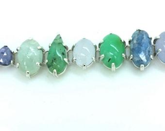SALE PRICE Sterling Silver Chalcedony,Jade,Kyanite,Tanzanite Gemstone Designer Bracelet