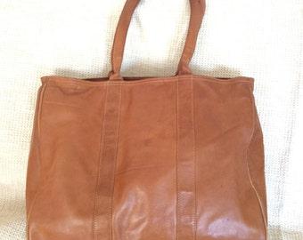 Genuine vintage LL Bean tan leather shopper tote bag distressed
