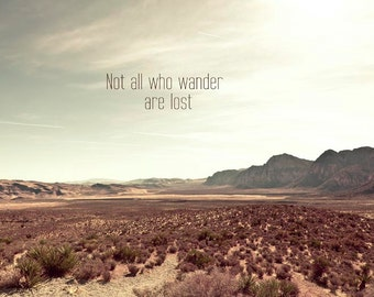 Not all who wander are lost, Travel Photography, Mint, Brown, Gift for him