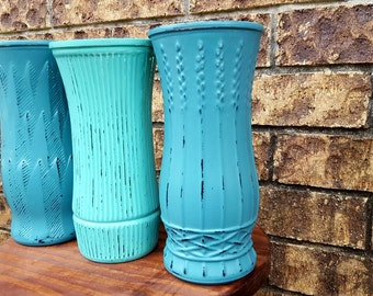 Large shabby chic vase, distressed vases, wedding décor, wedding vases, center piece