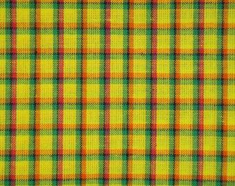Yellow Plaid Homespun Fabric   Primitive Cotton Fabric   Fabric Bolt End 55 x 44