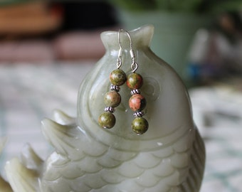 Unakite Earrings, sterling silver hook