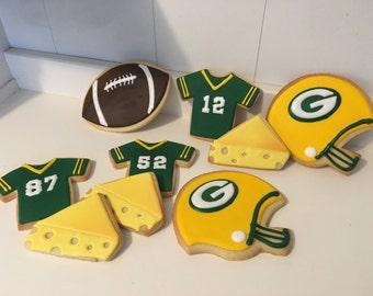Greenbay Packers Football Cookies - 1 Dozen