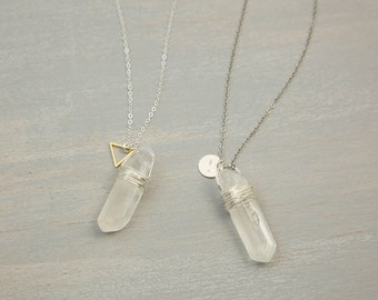 Crystal stone necklace pendant necklace natural crystal raw quartz crystal point with sterling silver tag or triangle charm personalized stamped tag mozeypictures Images