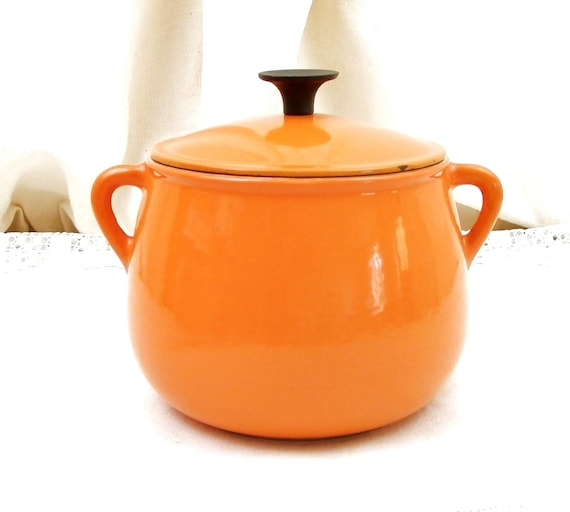 Small Vintage Pot Belled Orange Cast Iron Enamelware French Cooking Pot with Lid Cousances, Enamel Retro Saucepan from France, Le Cresuset