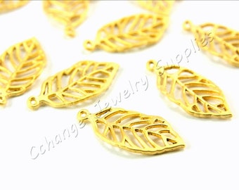 Gold Leaf Charm, 5 pcs Small Leaf Charm, Gold Plated Leaf Charm, Gold Small Leaf, 22k Leaf Gold Charm, Gold Charm Findings / GPY-235