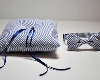 Simply Modern Ringbearer Set Navy Blue Seersucker Stripe LOTS of COLORS Available
