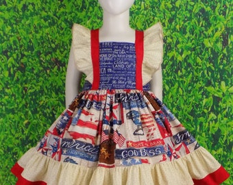 Patriotic Pageant Dress, Red White Blue Dress, 4th of July Dress, Stars and Stripes, Fancy Dress, Ruffles, Horse, Western Wear, Flag, USA