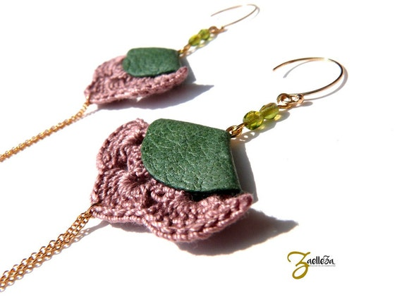 """Green rose Stud Earrings - leather crochet gold 14K - graphic Acidule Chic Bohemian - model MEXICO """"Mexico Collection"""