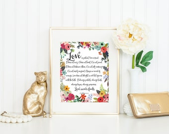 Love Is Patient Love Is Kind Print / Love Never Fails Sign / 1 Corinthians 13 / Wedding Gift Print / Gift for Newlyweds / Bible Verse Print