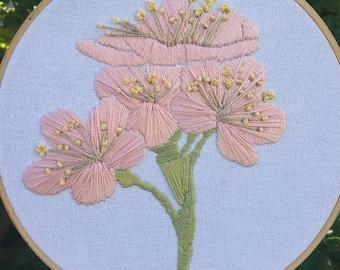 Japanese Cherry Blossom Hand Embroidery Hoop Art
