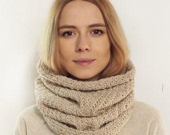 Knit Scarf, Women's Scarf, Alpaca Wool Scarf, Snood scarf
