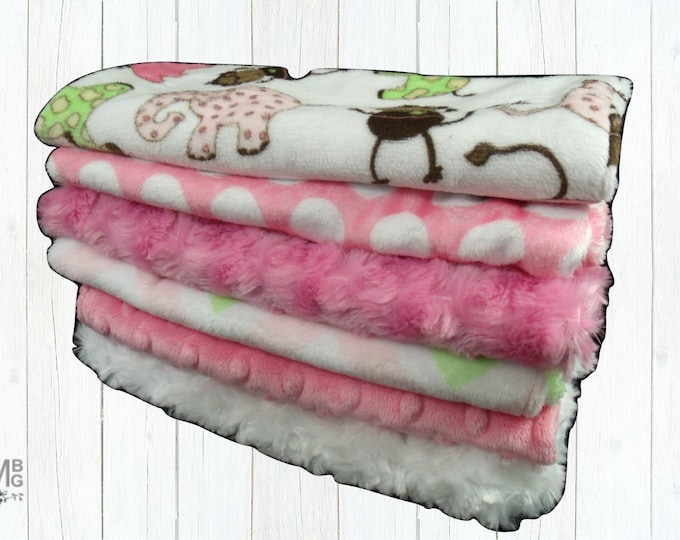 Pink and Brown Baby Burp Cloth Set in Assorted Prints, Layette Accessories, Woodland Animal Burp Cloth Rags
