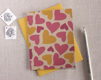 Pink & Yellow Hearts Pattern Valentine's Day Card / Modern Greeting Card / Happy Valentine's Day / Cute Valentine's Day Card