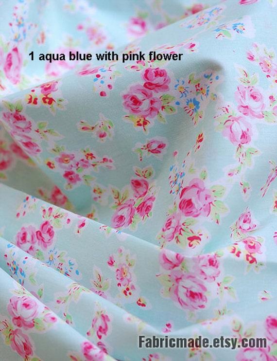 Sale Aqua Blue Fabric Pink Flower Shabby Chic Polka Dots Cotton Floral 1 2 Yard