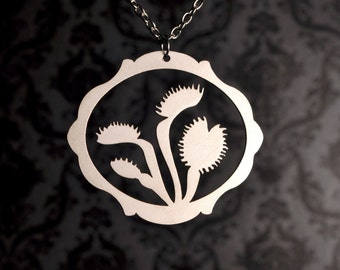 Venus Flytrap necklace in silver stainless steel - silhouette carnivorous jewelry