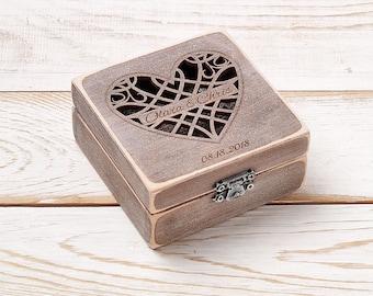 Ring Bearer Box Wedding Ring Box Personalized Ring Box Rustic Vintage Wedding Ring Holder Pillow Ring Bearer Box Custom Wood Wooden Box
