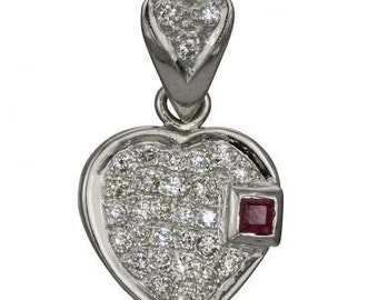 Heart Necklace 18K White Gold With A Ruby Necklace Design & Pave Diamond Accents