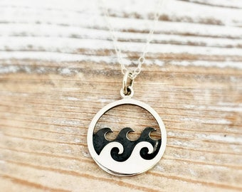 Waves Necklace - beach necklace - surfing - surfer - summer - sterling silver ocean jewelry - destination beach wedding bridesmaid gift