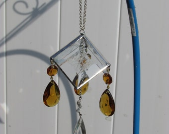Stained Glass Suncatcher with Crystal Drops