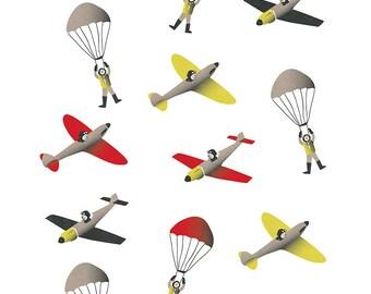 Planes and Parachutes, Boys Bedroom Art Print, Spitfire, WW2