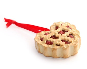 CHERRY PIE Polymer Clay Christmas Tree Ornament with Bakery Box